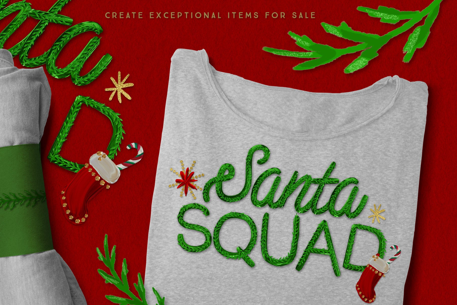 Luxe Christmas & Holiday Greenery Alphabets: make holiday t-shirt designs