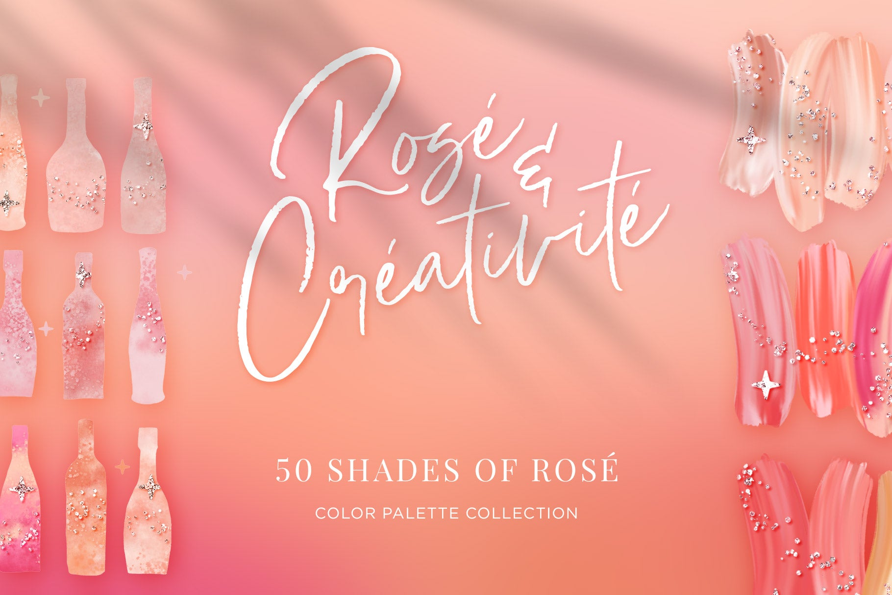 Rosé wine themed Color Palette & Color-Blending Brush Collection, cover image