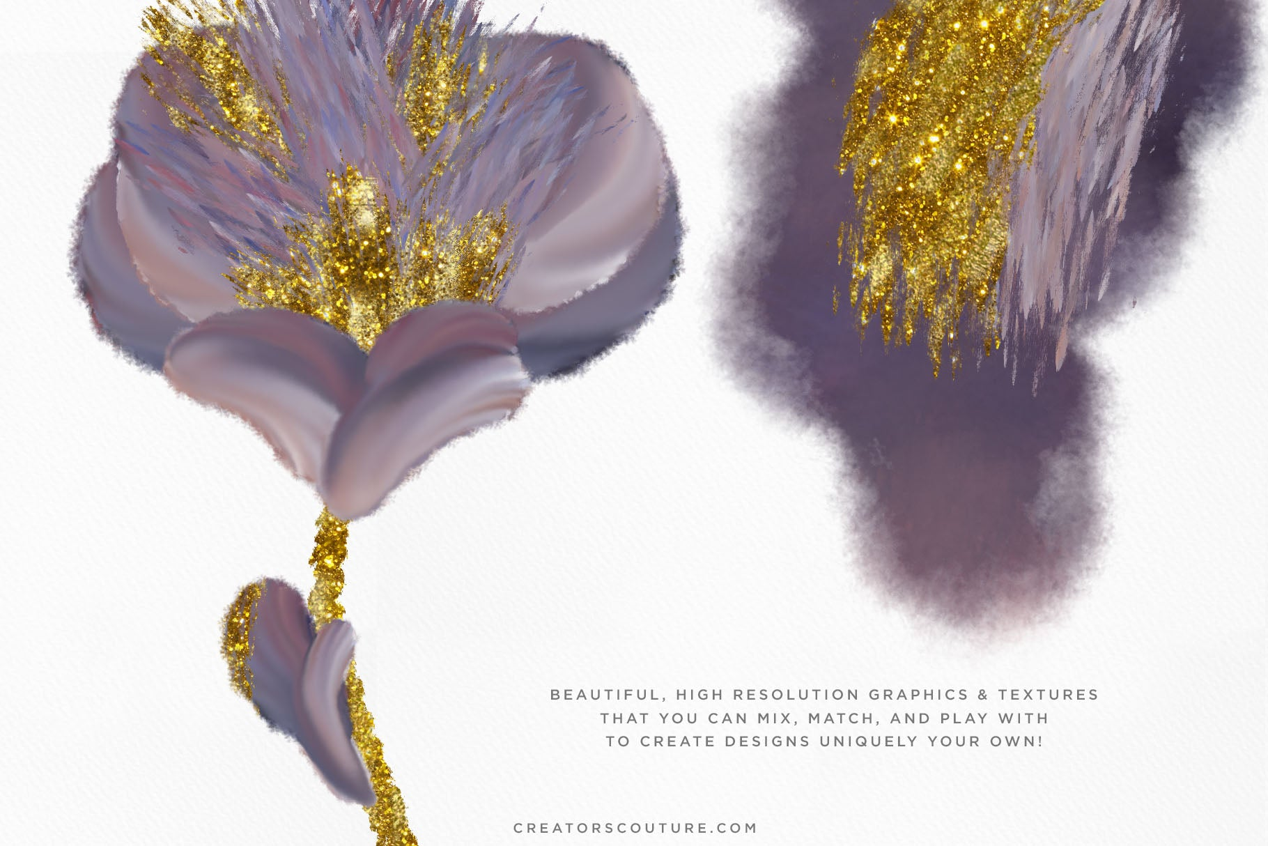 Sensational Sky Flower Illustrations with Wet Gold Accent - Creators Couture