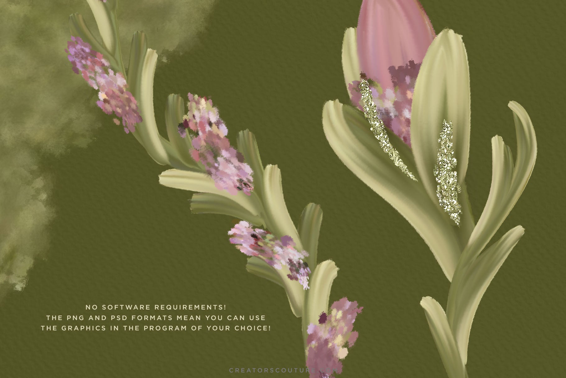 Delicate Mauve Spring Floral Illustrations & Watercolor Textures - Creators Couture