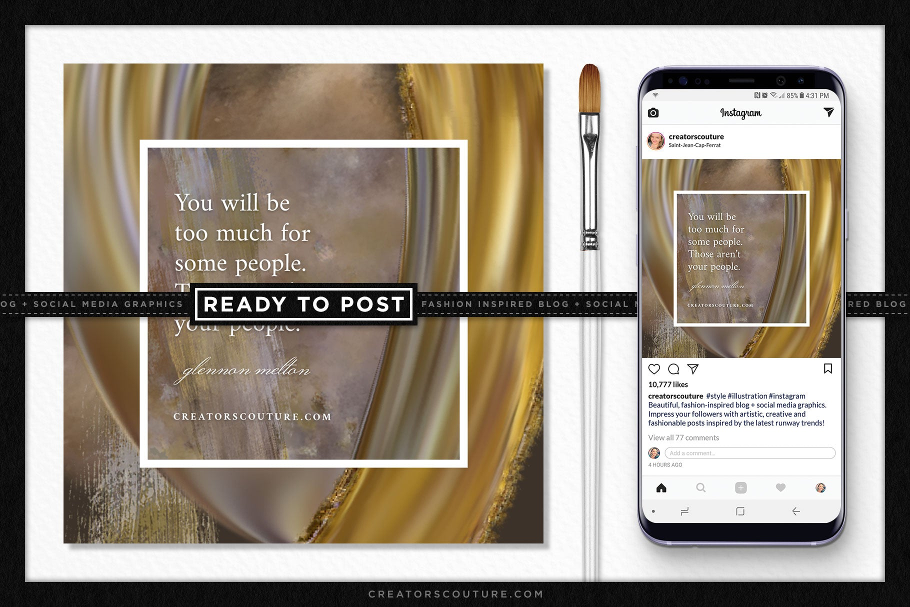 Gilded Undergrowth Ready-to-Post Social Media / Blog Graphic Template - Creators Couture