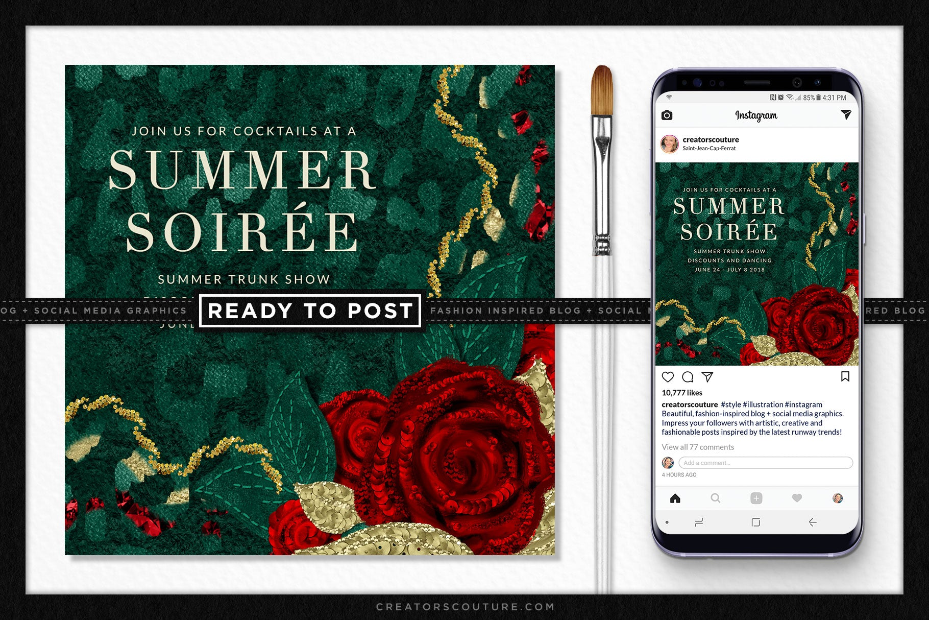 Dolce Rose Illustration Social Media / Blog Graphic Template - Creators Couture