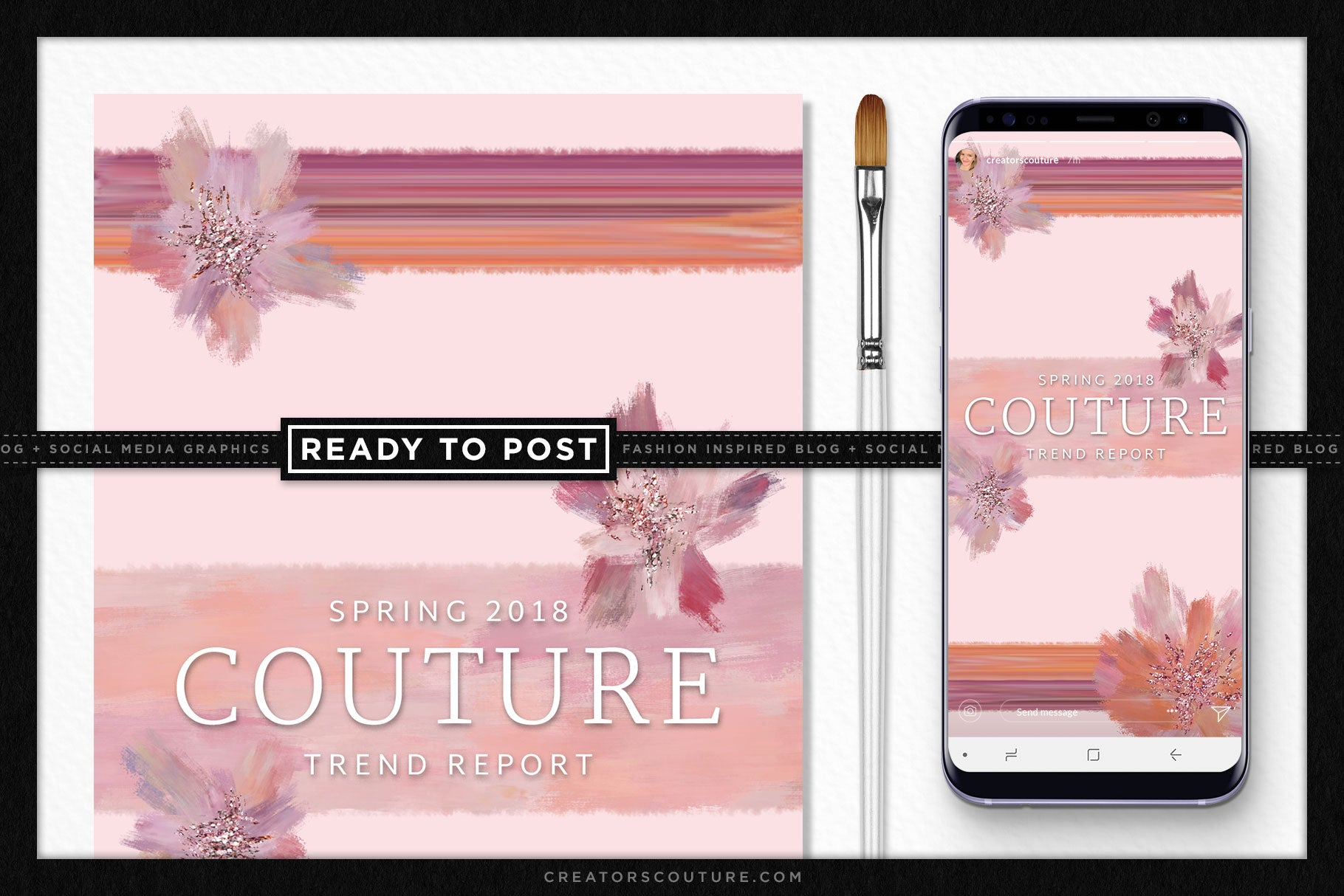 Pastel Perfection Florals Ready-to-Post Social Media Stories / Vertical Blog Graphic Template - Creators Couture
