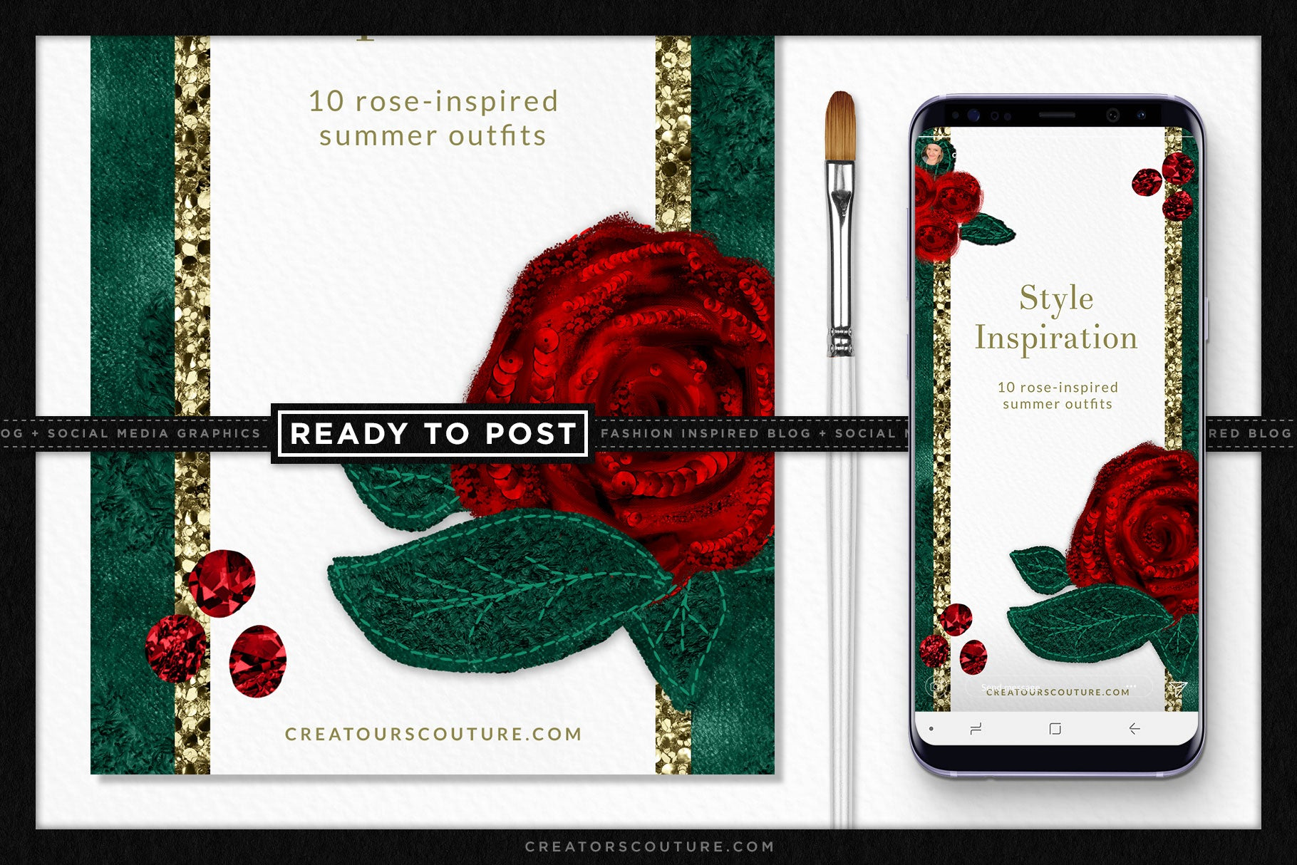 Dolce Rose Illustration Social Media Stories / Vertical Blog Graphic Template - Creators Couture