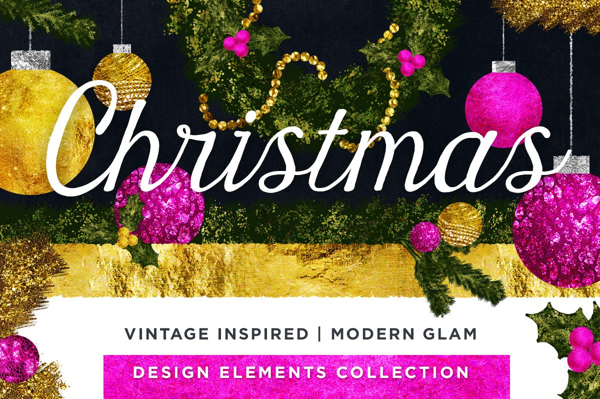 Vintage & Glam Hand Drawn Christmas Illustrations Cover image