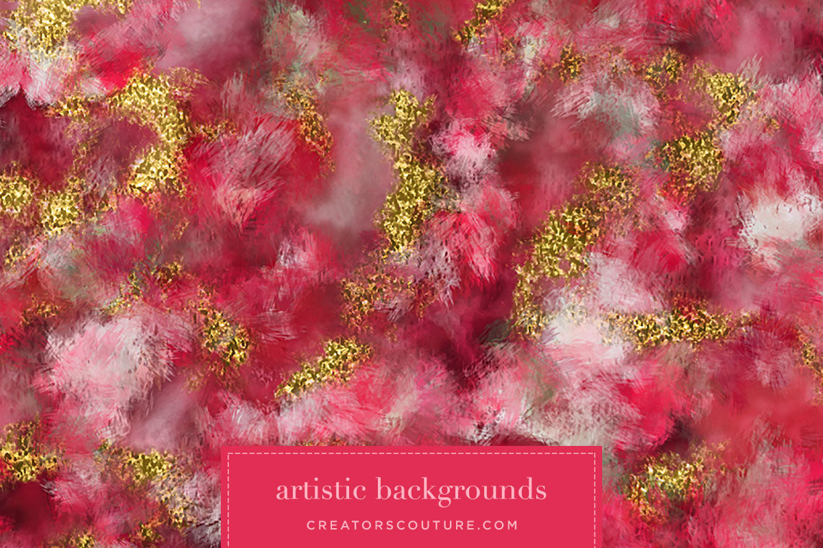 Abstract Watercolor Floral & Painted Tulle Digital Papers, bold red and pink