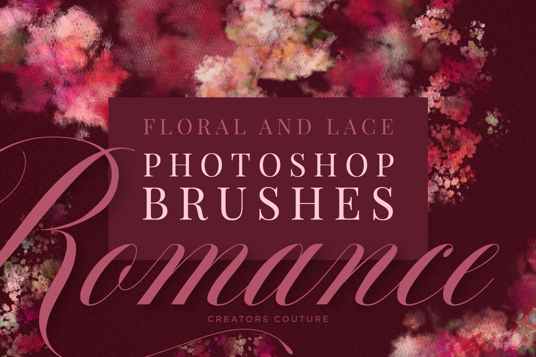 floral and lace wedding and feminine brushes for photoshop cover image