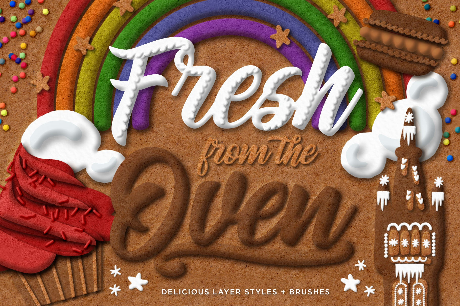 Gingerbread, Cookie, & Cake Graphic & Lettering Effects for Photoshop, cover image