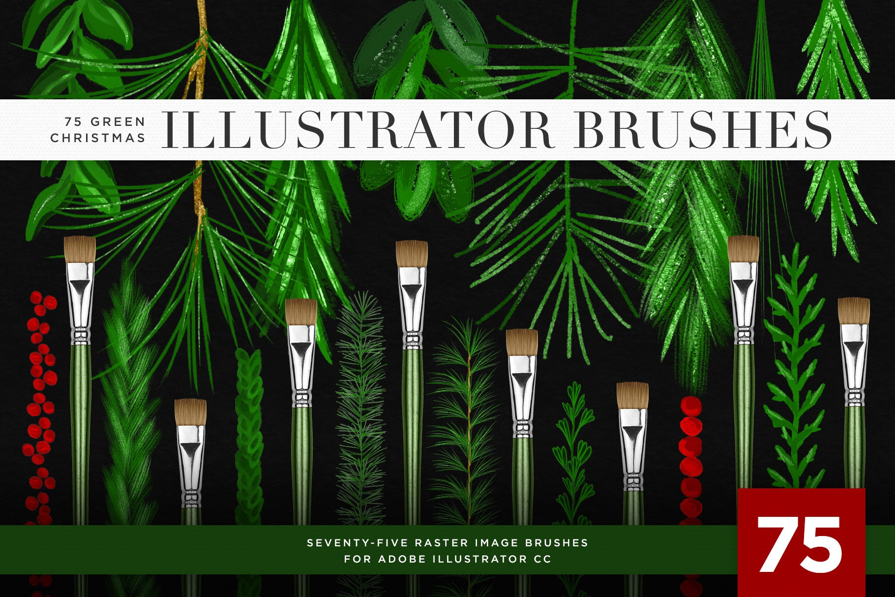 Christmas & Winter Greenery Illustrated Brushes for Adobe Illustrator dark background preview