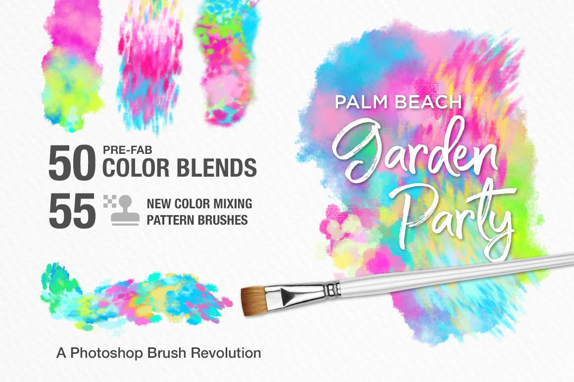 Palm Beach Garden Party Color-Blending Watercolor Photoshop Brushes preview image cover