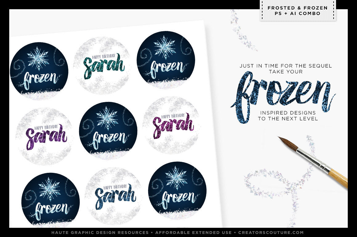 Frozen-inspired Icy, Wintery Textures & Styles | Photoshop & Illustrator, stickers sheet