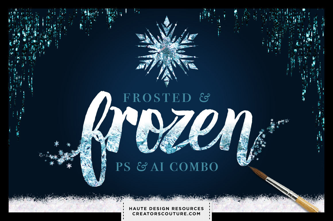 Frosted & Frozen Icy Winter Kit for Adobe Photoshop and Illustrator - Creators Couture