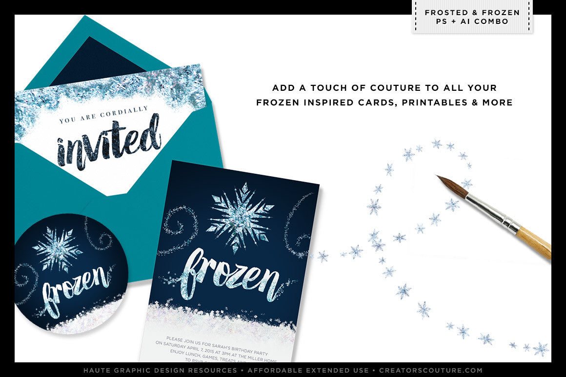 Frozen-inspired Icy, Wintery Textures & Styles | Photoshop & Illustrator, frozen inspired invitation design