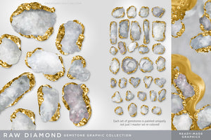 Luxe Illustrated Gemstones: Jewel, Crystal, Birthstone, & Gem Artwork