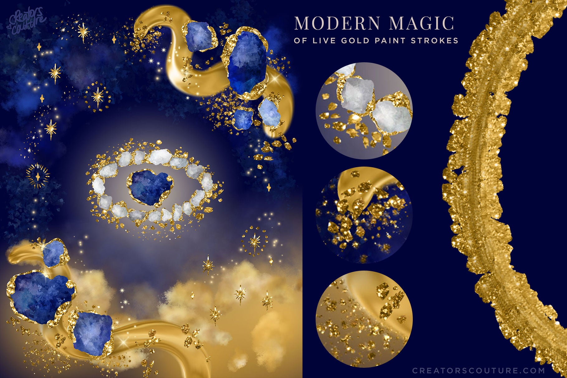 mystical gold paint stroke artwork made with 24k gold photoshop brushes