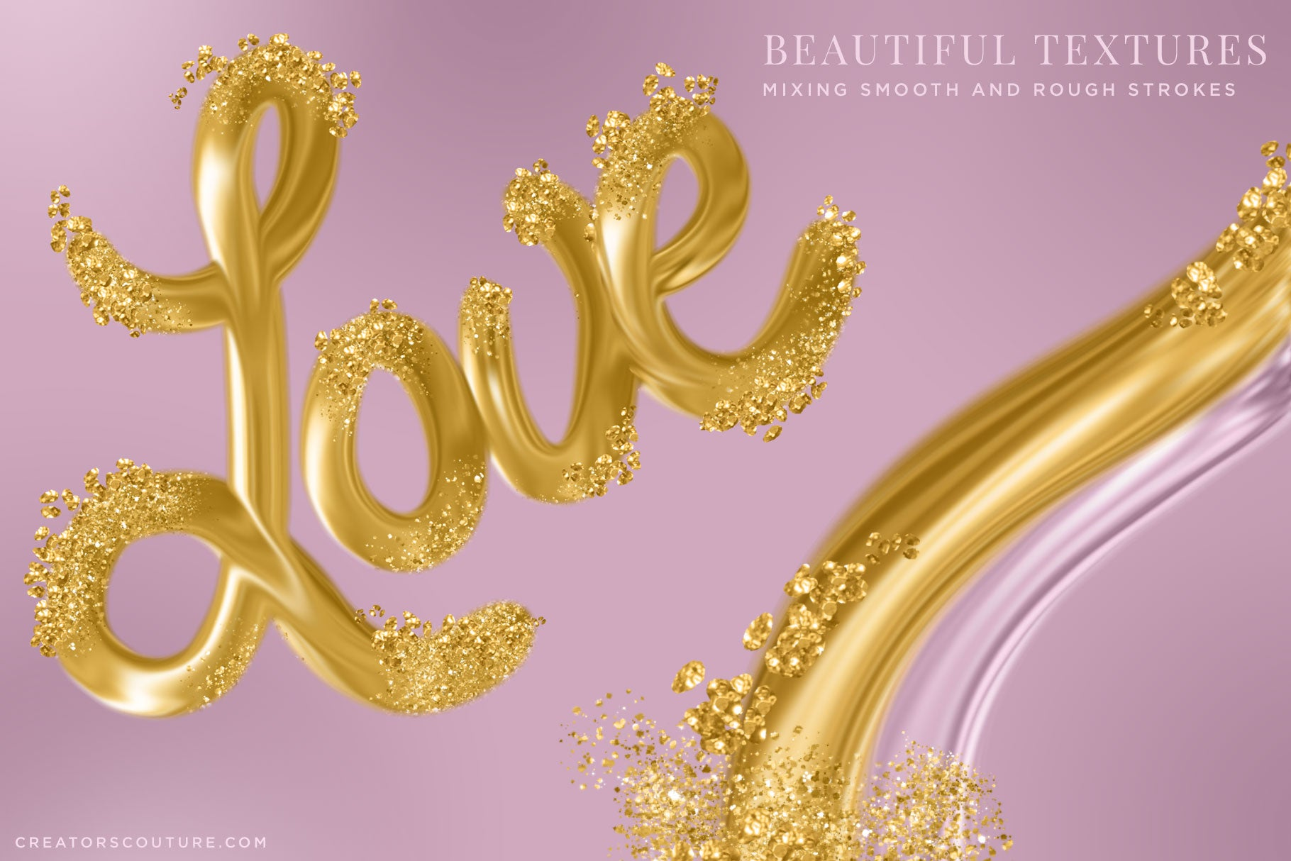 liquid gold letters made with 24k gold photoshop brushes