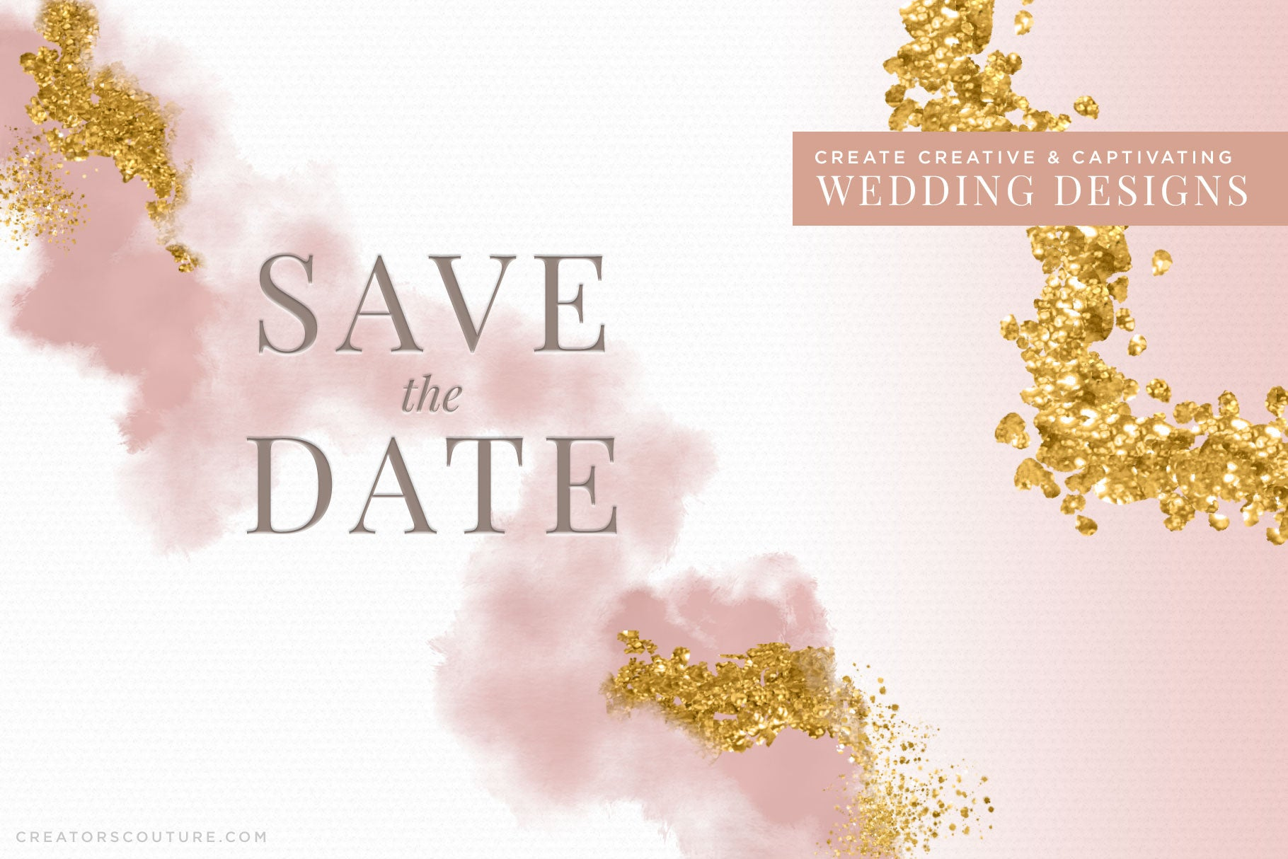 24k liquid, metallic gold photoshop brush preview, wedding design sample
