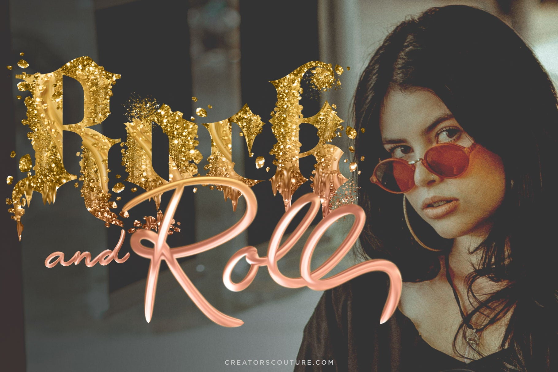 rock and roll gold letters made with photoshop brushes