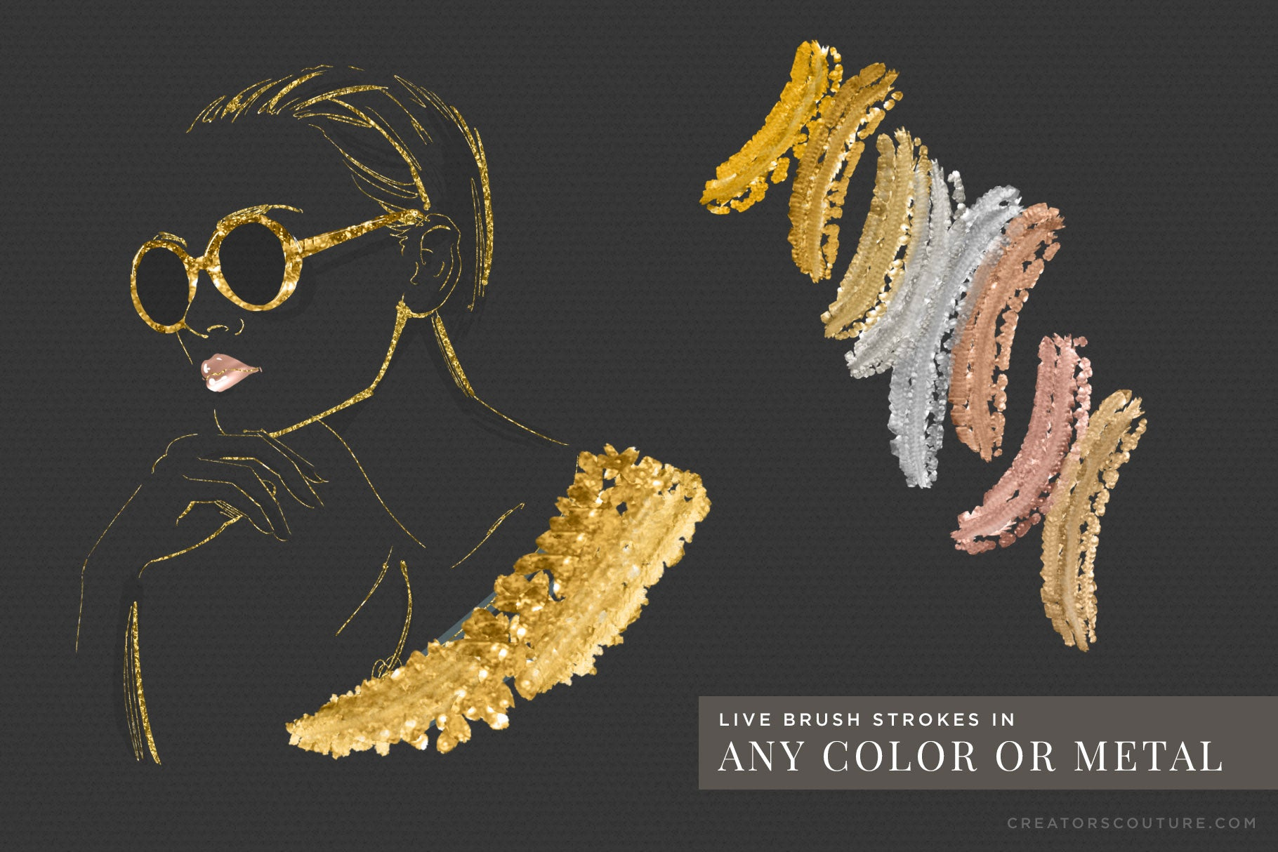 24k liquid, metallic gold photoshop brush previews - rose gold, copper, and silver demos