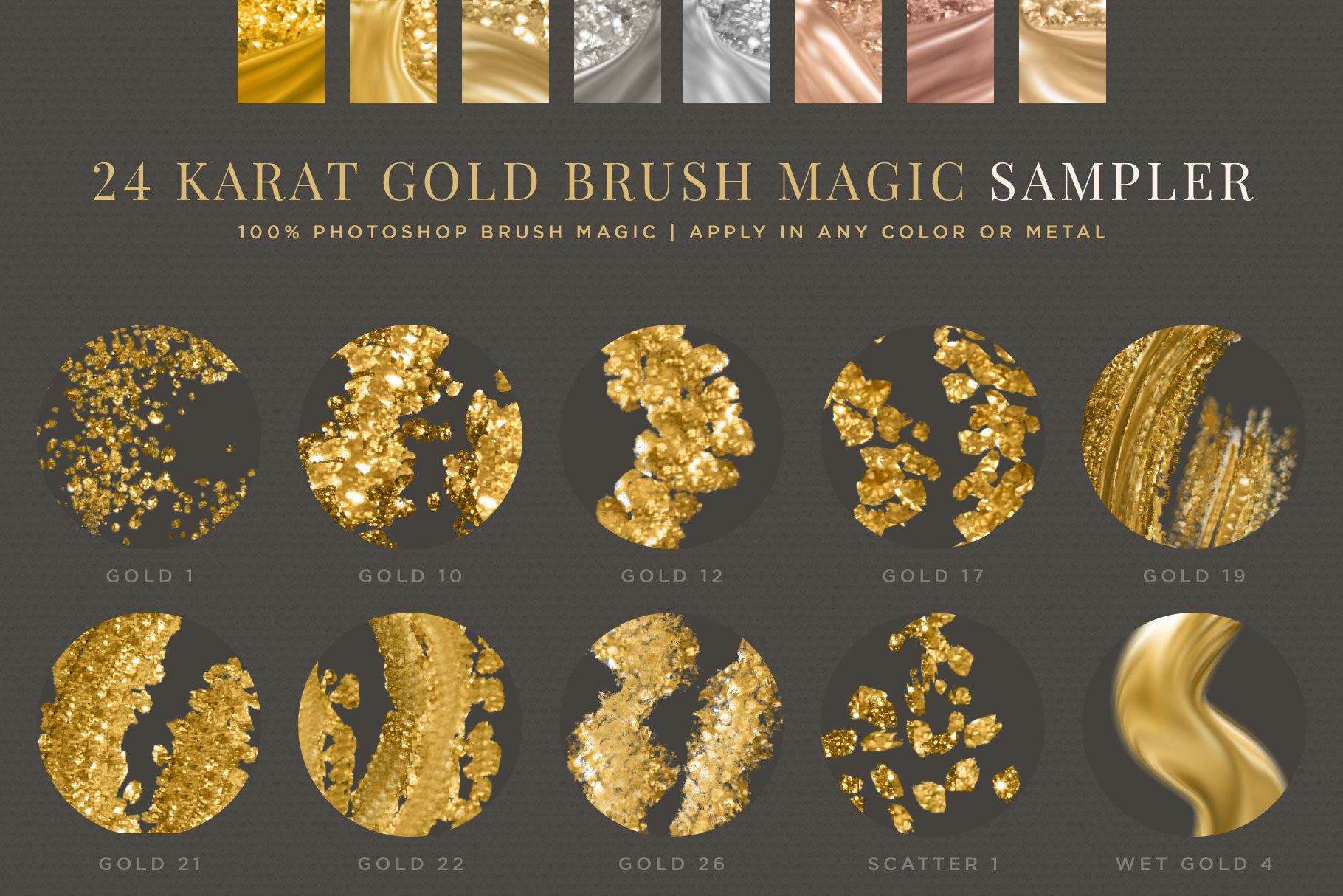 24K Gold Photoshop Brush Magic: SAMPLER Pack preview