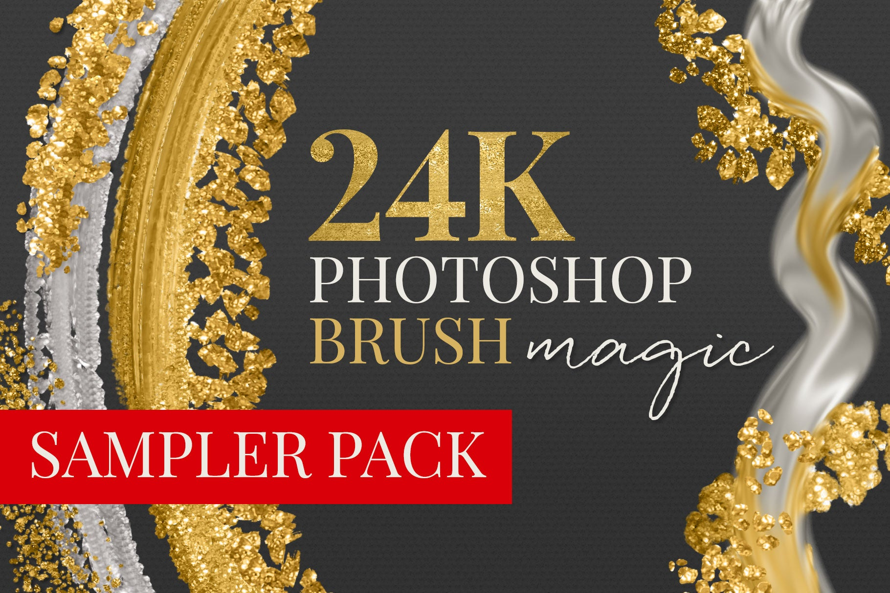 24k liquid, metallic gold photoshop brush preview cover image sampler