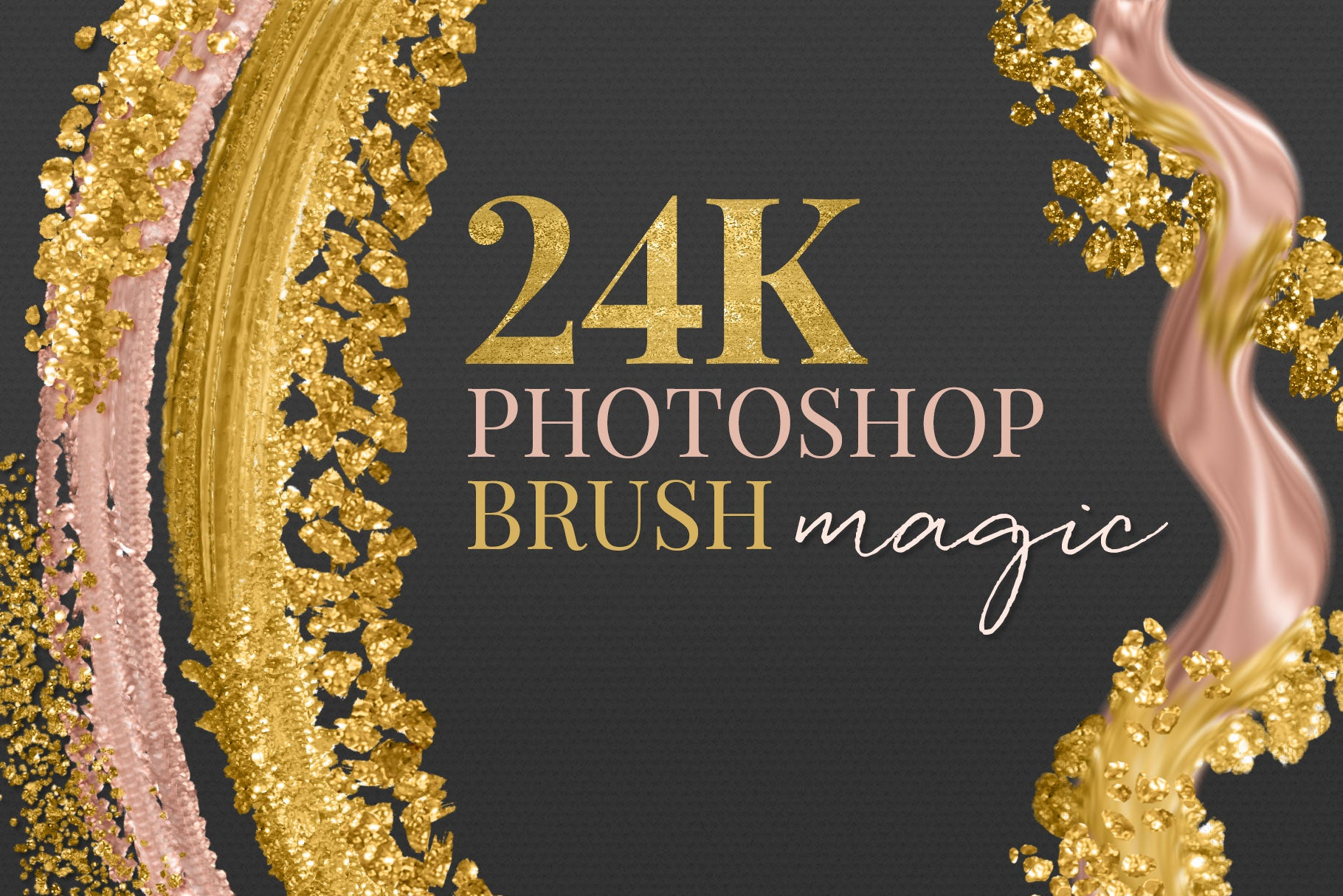 24k liquid, metallic gold photoshop brush preview cover image