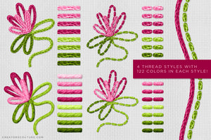thread layer styles, Illustrator Thread Brushes for a Hand-Embroidered Illustration Effect
