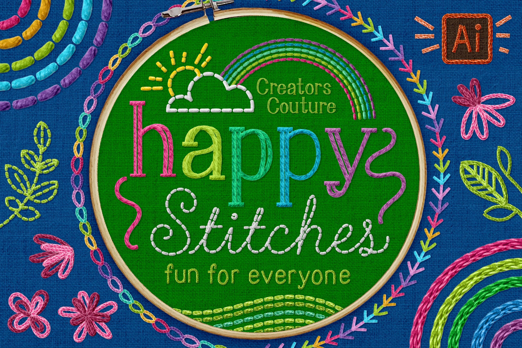 Happy Stitches! Adobe Illustrator Brushes for a Hand-Embroidered Illustration Effect - Creators Couture