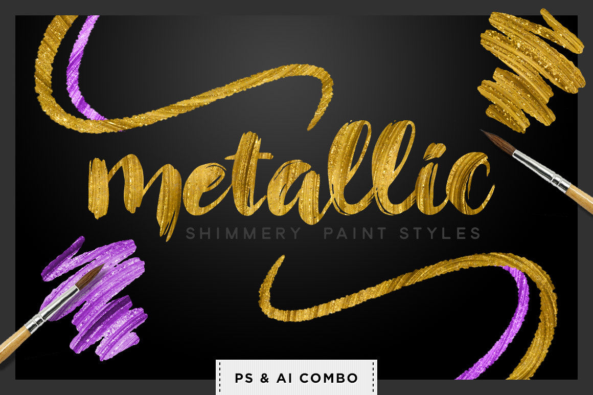 Shimmery Swirls: Metallic Styles for Photoshop & Illustrator - Creators Couture