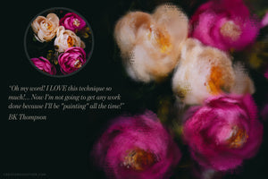 impressionist painting effect photoshop brush studio, before and after flowers and testimonial