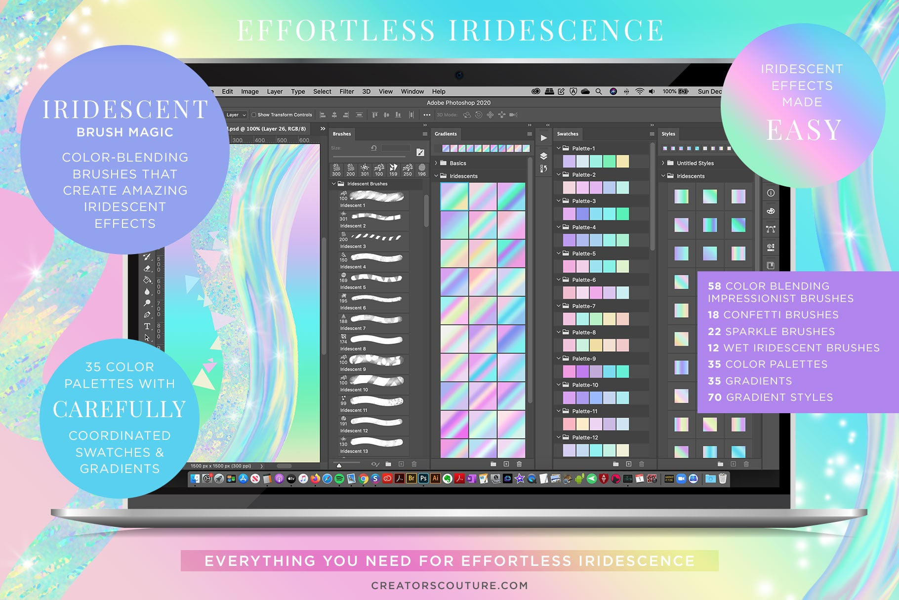 Iridescent & Holographic Photoshop Brushes, Color Palettes, & Effects photoshop preview