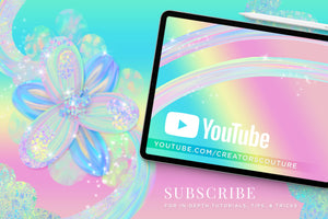Iridescent & Holographic Photoshop Brushes, Color Palettes, & Effects, flower illustration tutorial