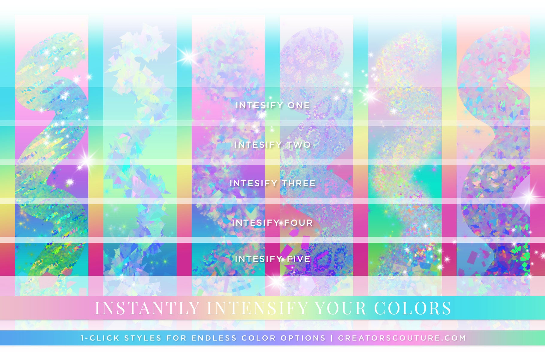 Iridescent & Holographic Photoshop Brushes, Color Palettes, & Effects intensity preview