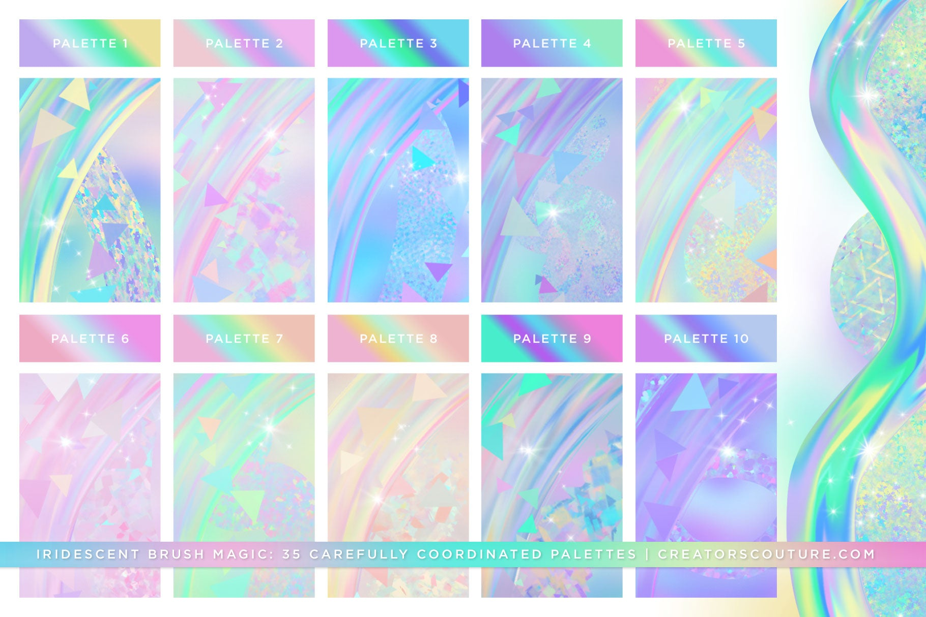 Iridescent & Holographic Photoshop Brushes, Color Palettes, & Effects preview 2
