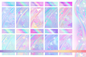 Iridescent & Holographic Photoshop Brushes, Color Palettes, & Effects preview 6