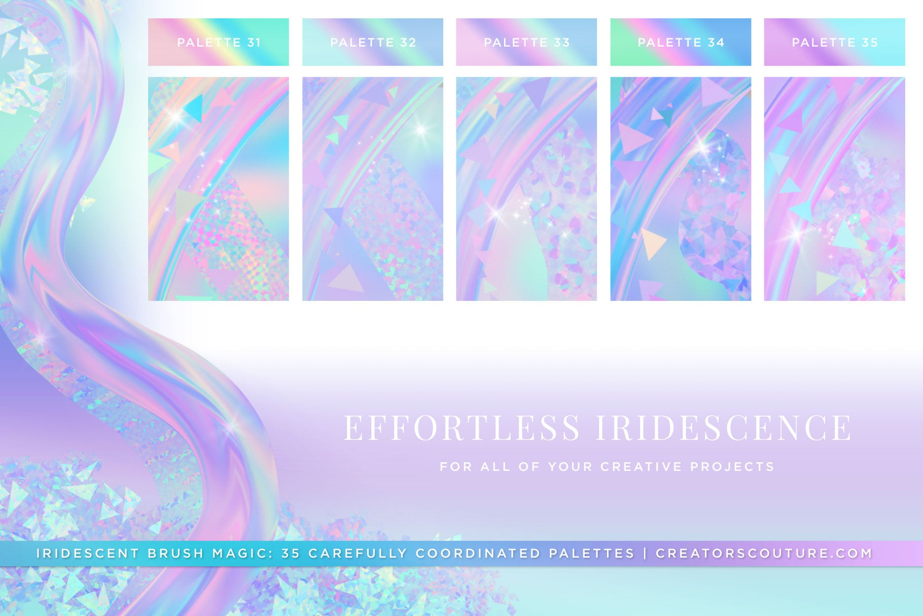 Iridescent & Holographic Photoshop Brushes, Color Palettes, & Effects preview 8
