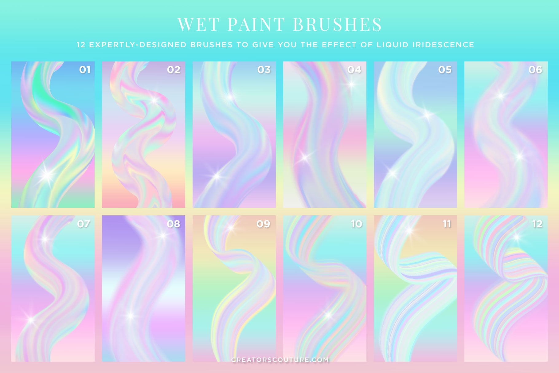 Iridescent & Holographic Photoshop Brushes, Color Palettes, & Effects, wet paint brush preview