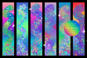 BOLD Iridescent & Holographic Photoshop Brushes, Color Palettes, & Effects