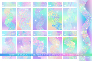 Iridescent & Holographic Photoshop Brushes, Color Palettes, & Effects preview 1