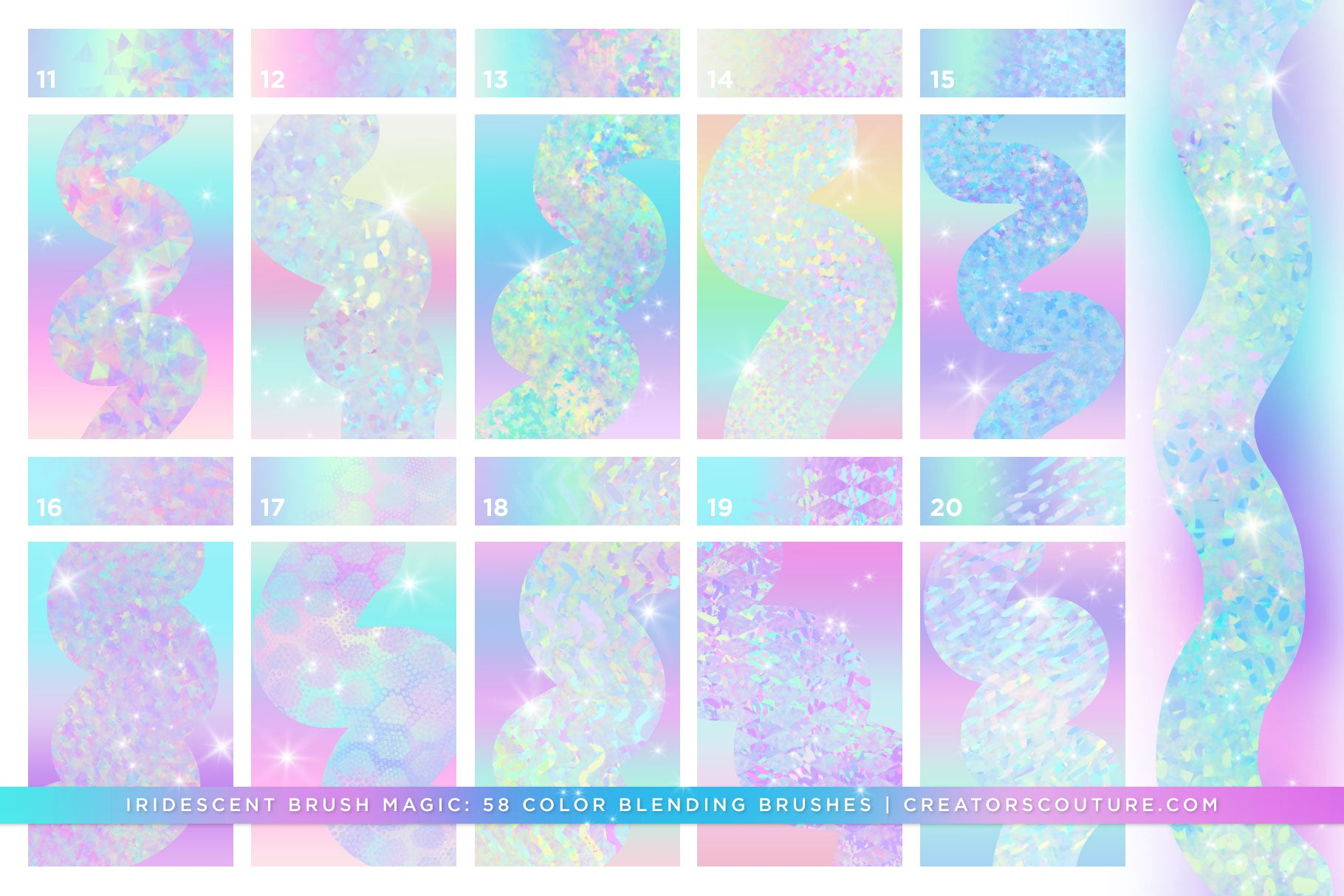 Iridescent & Holographic Photoshop Brushes, Color Palettes, & Effects brush preview 3