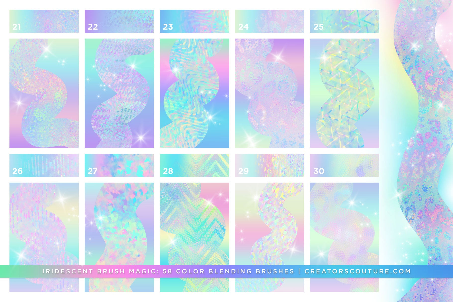 Iridescent & Holographic Photoshop Brushes, Color Palettes, & Effects preview 5