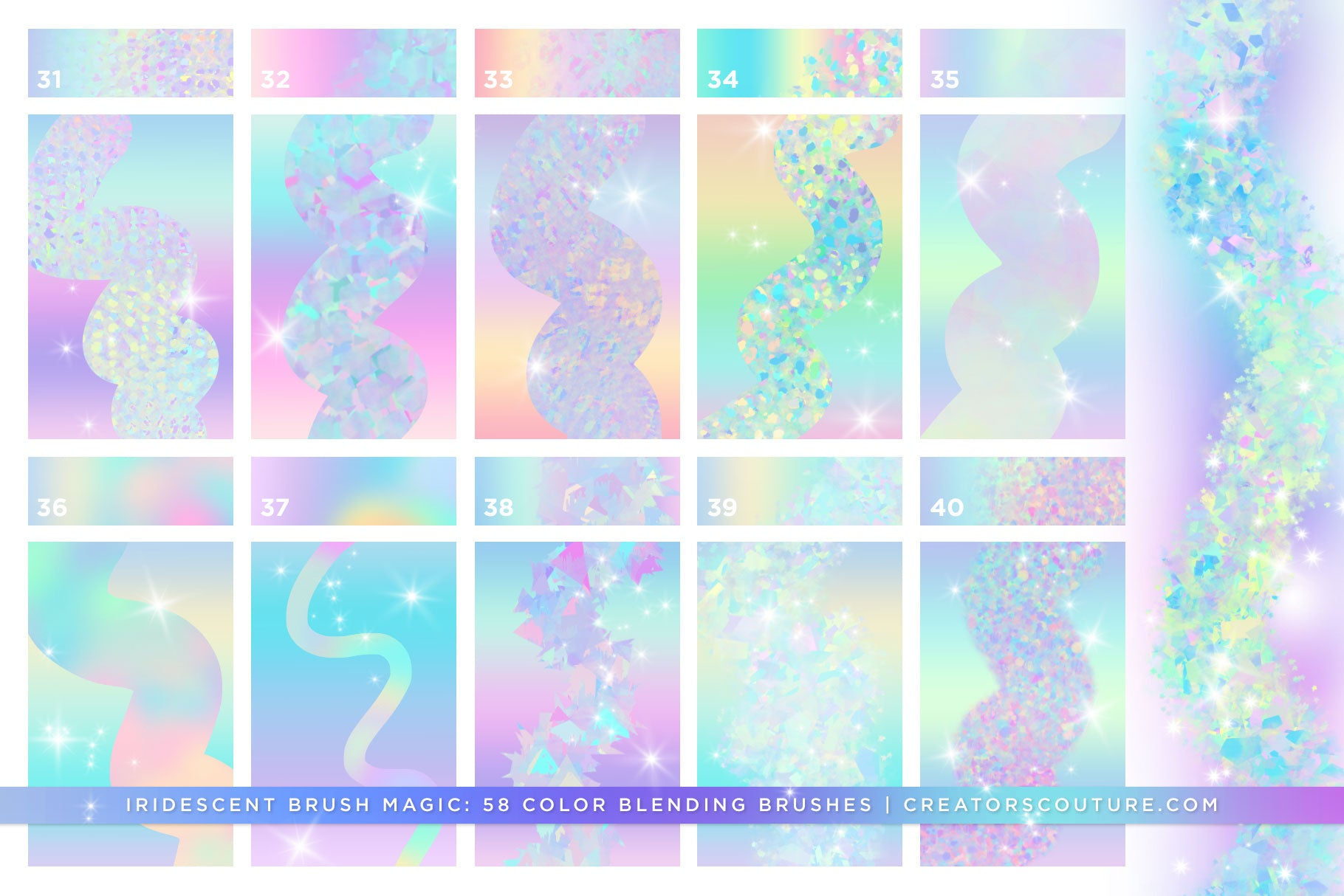 Iridescent & Holographic Photoshop Brushes, Color Palettes, & Effects preview 7