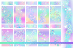 Iridescent & Holographic Photoshop Brushes, Color Palettes, & Effects, confetti brush preview 1