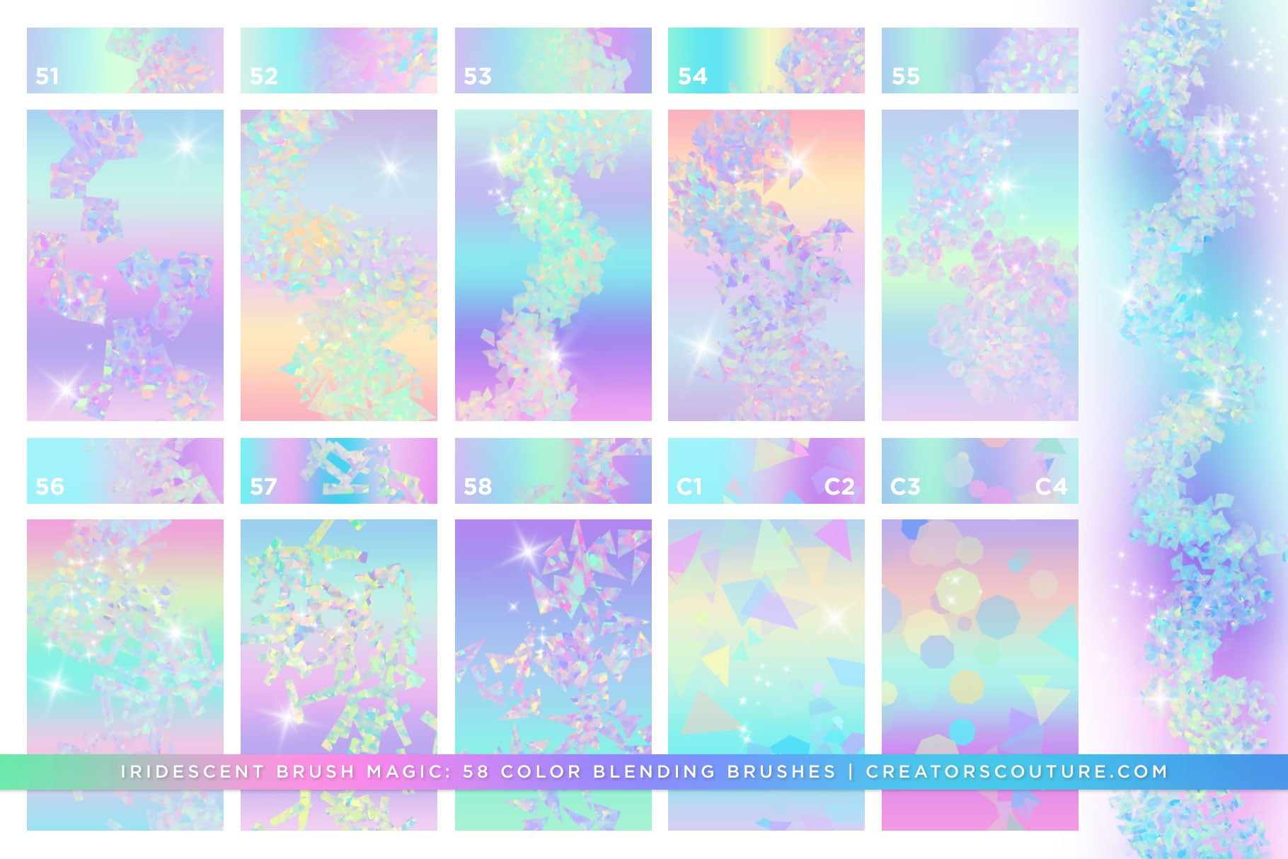 Iridescent & Holographic Photoshop Brushes, Color Palettes, & Effects, confetti brush preview 2
