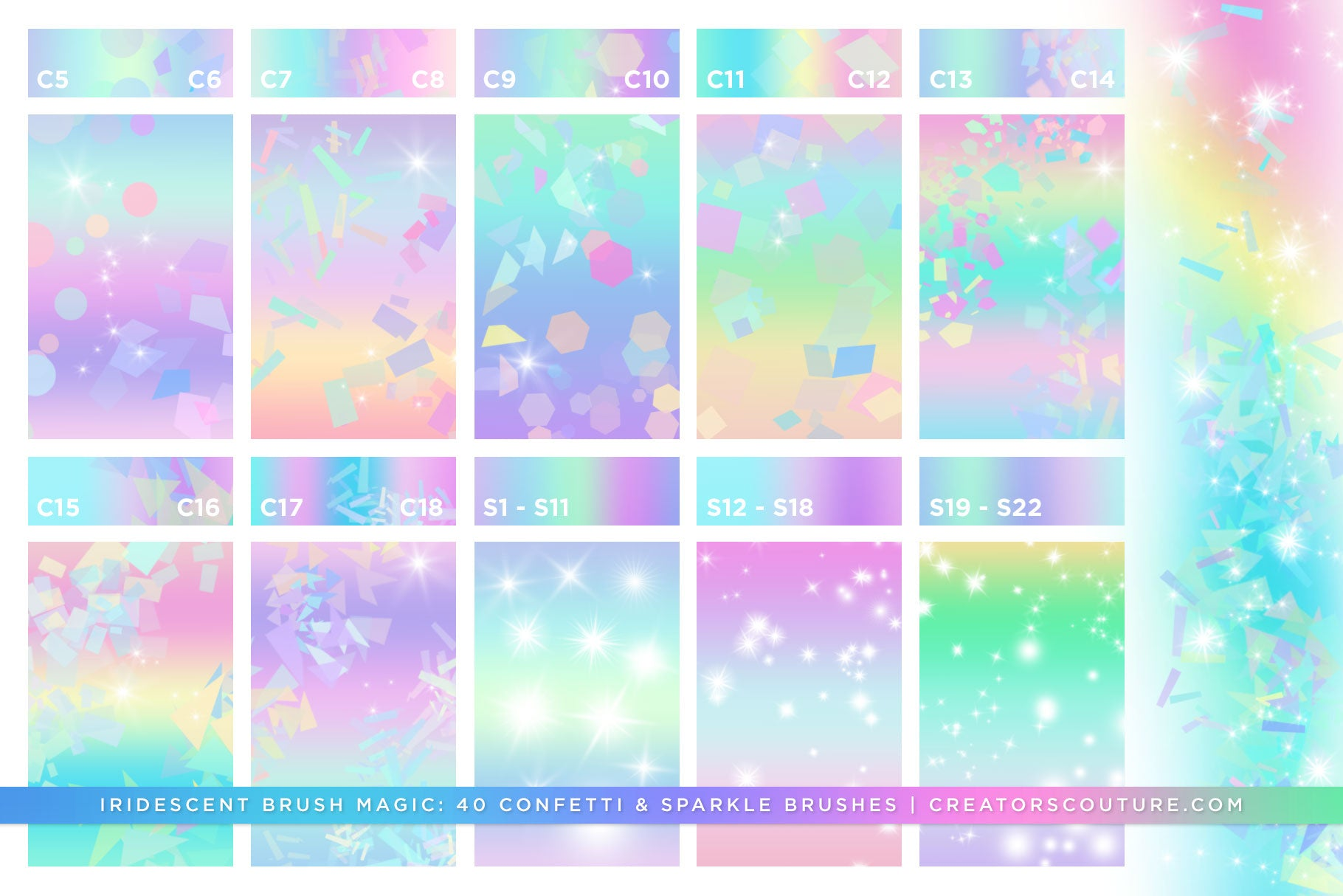 Iridescent & Holographic Photoshop Brushes, Color Palettes, & Effects, confetti brush preview 3