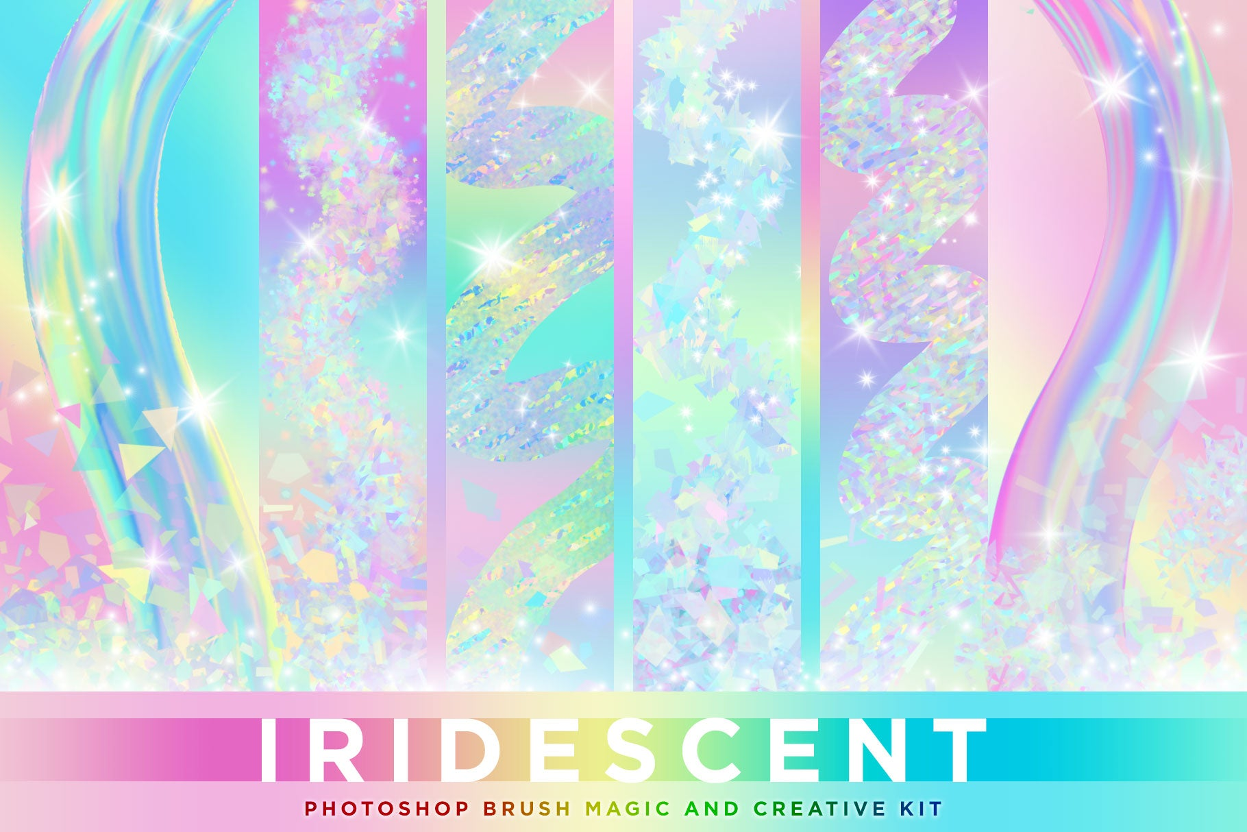 Iridescent & Holographic Photoshop Brushes, Color Palettes, & Effects cover image