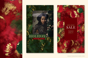 Luxe Christmas: Abstract Holiday Painted Backgrounds, social media graphics