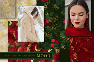 Luxe Christmas: Abstract Holiday Painted Backgrounds, mood board design