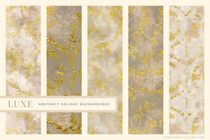Luxe Christmas: Abstract Holiday Painted Backgrounds, white and gold marbled designs