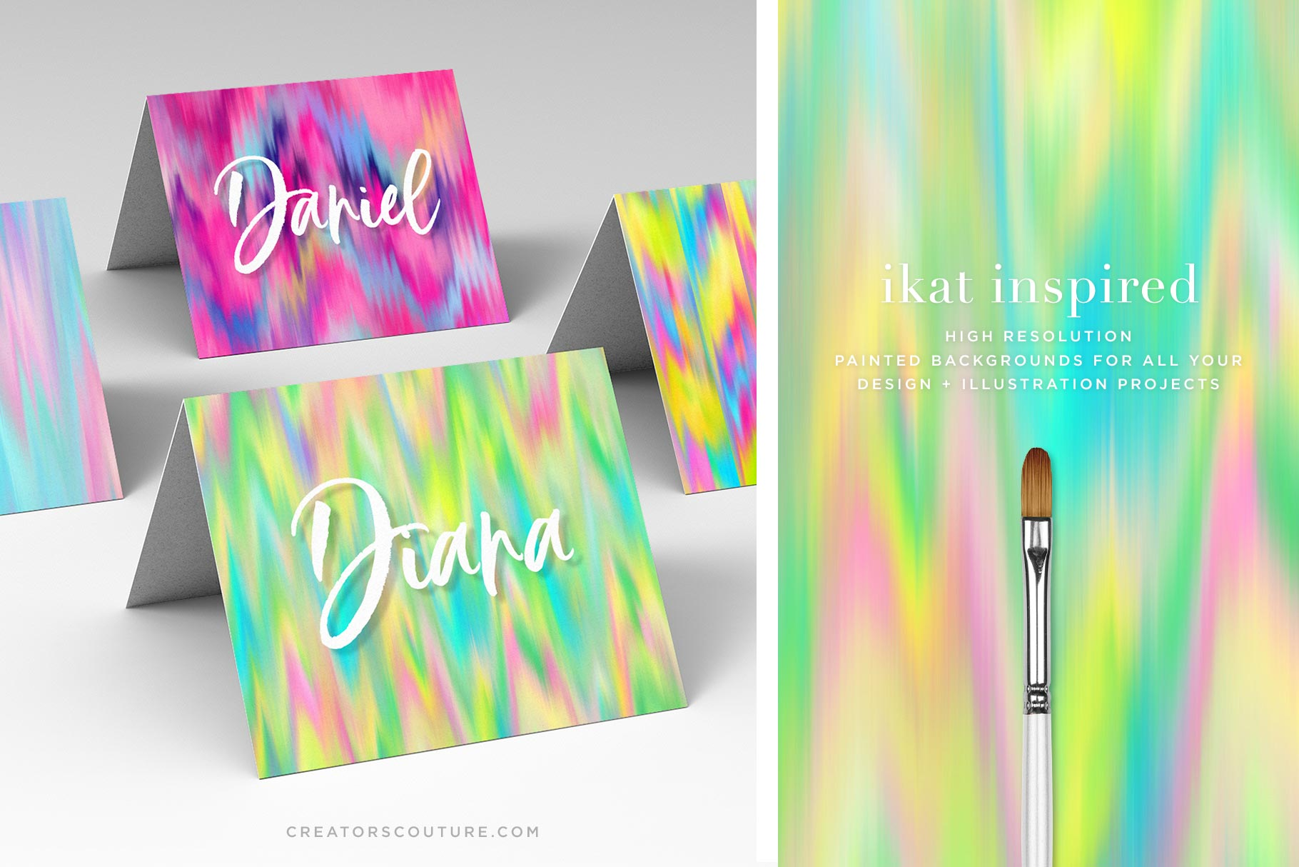 Ikat Inspired 'Palm Beach' Wet Paint Digital Backgrounds, sample of card design and close up of graphic texture